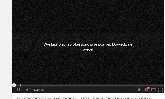 Co� blokuje odtwarzanie film�w i muzyki youtube/ winamp/WMP itd.