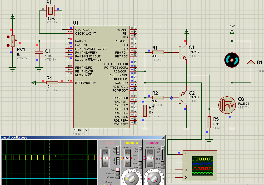 Dc motor speed control using pwm + pic16f877a