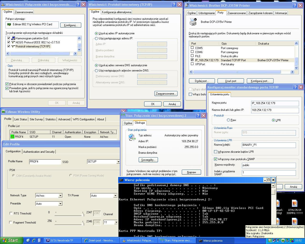 Brother DCP-J315W konfiguracja z wifi