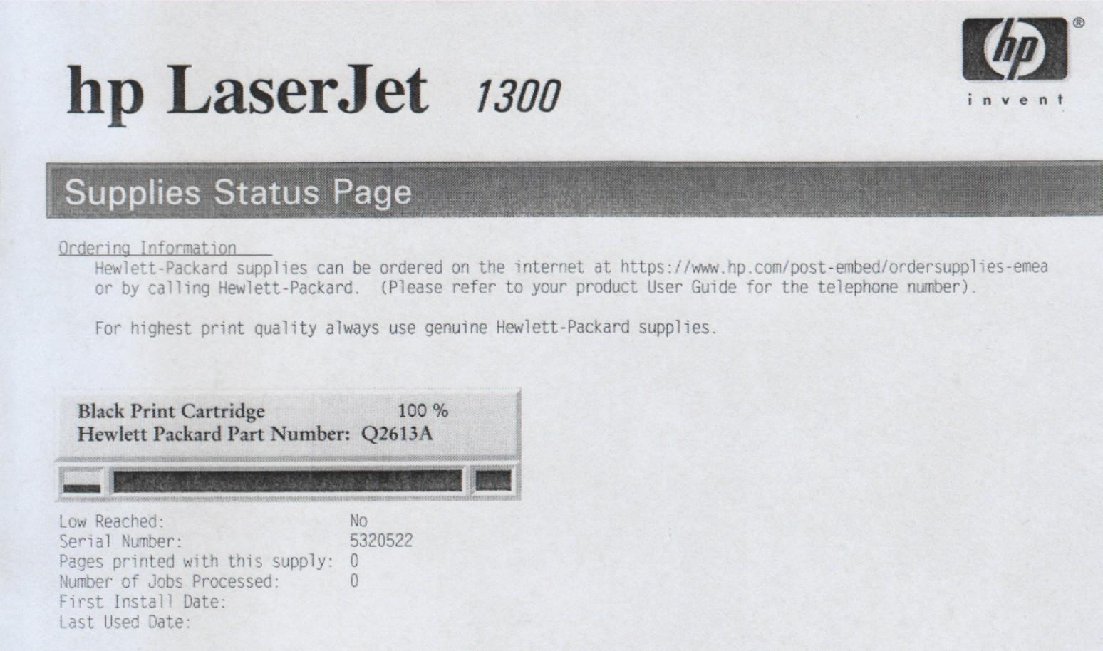 HP laser Jet 1300 s�abe nasycenie czerni