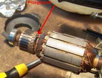 Hitachi C 7MFA - Uszkodzenie komutatora przez szczotki