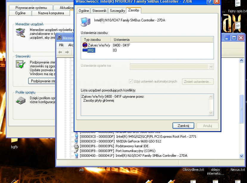 g45gcm5-f v2 - Konflikt sprz�towy Intel(R) N10/ICH7 Family SMBus Controller - 27