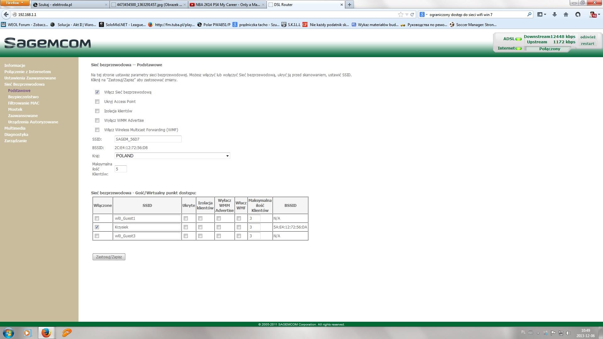 Sagem Fast 2704 - Ograniczony dost�p do sieci wifi
