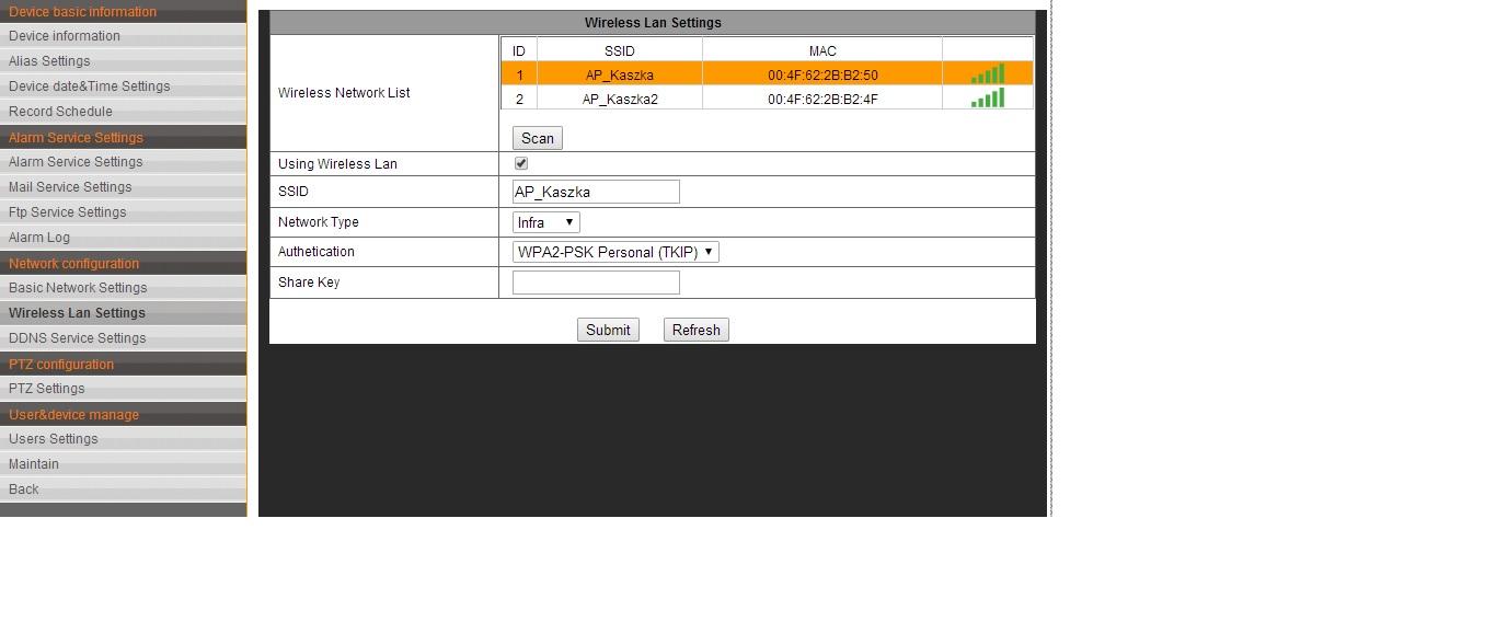 K�opot z konfiguracj� kamery IP (bezprzewodowe po��czenie).