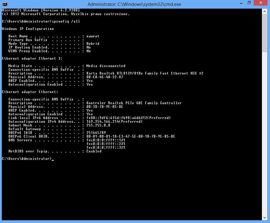 Windows 8 - Sie� niezidentyfikowana, nie uzyskuje adresu bramki domy�lnej