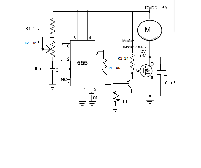 power on 555 motor circuit with mosfet not relay