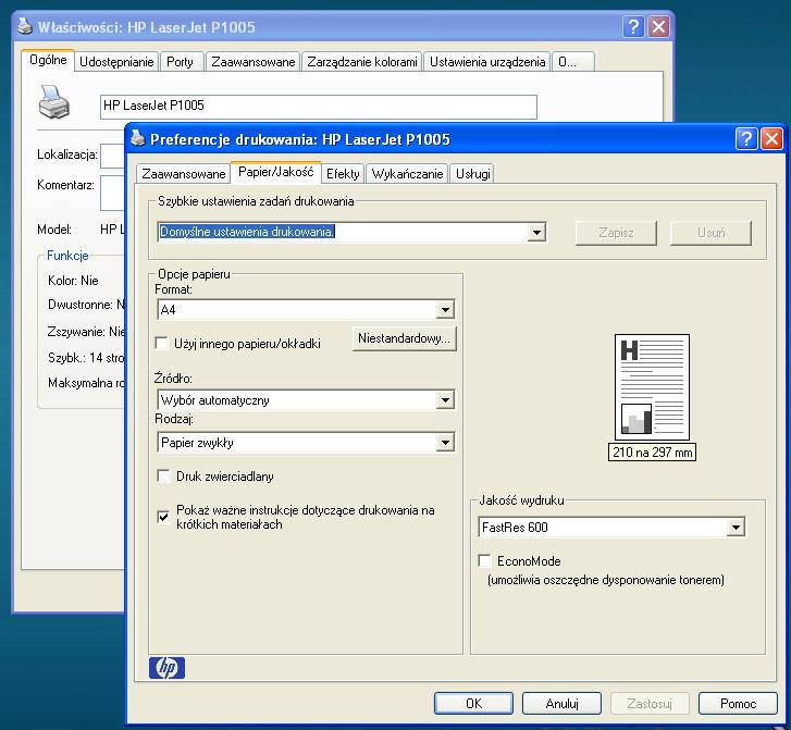 HP P1005 - Sterowniki w dziwnym j�zyku