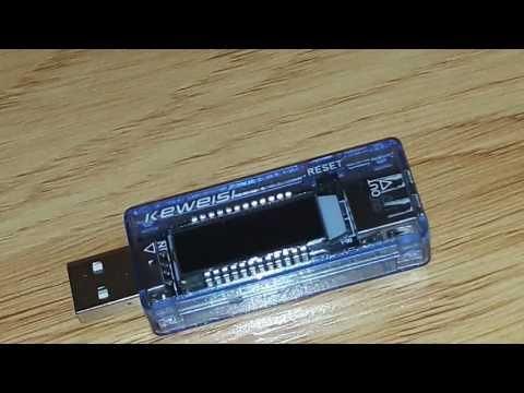 Miernik portu USB - Pomiar pojemności baterii telefonu.