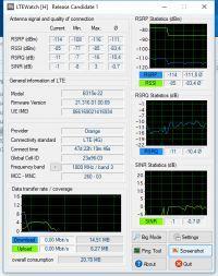Analiza parametrów LTE Orange i RBM na różnych nadajnikach.