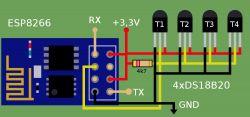 Pomiar temperatury z wielu czujników DS18b20 po WiFi za pomocą ESP8266