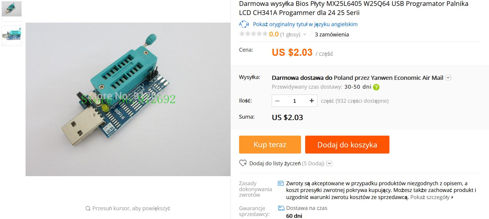 Programator pamięci BIOS MX25L6405 W25Q64 USB Programator CH341A