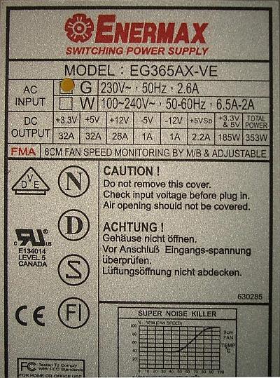 Enermax model: EG365AX-VE powt�rna naprawa zasilacza