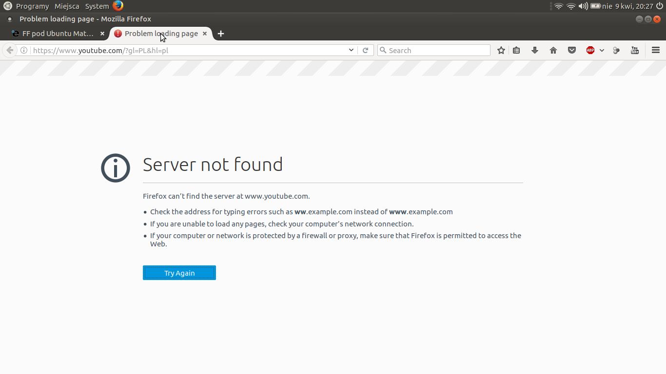 FF pod Ubuntu Mate nie znajduje stron Youtube [ SOLVED ]