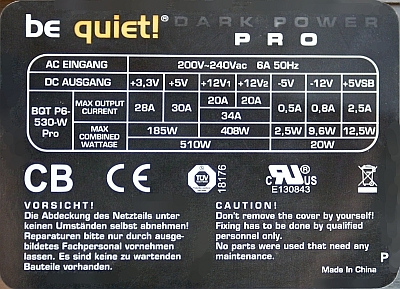 Be Quiet! model: BQT P6-530W Dark Power PRO wywali� korki...