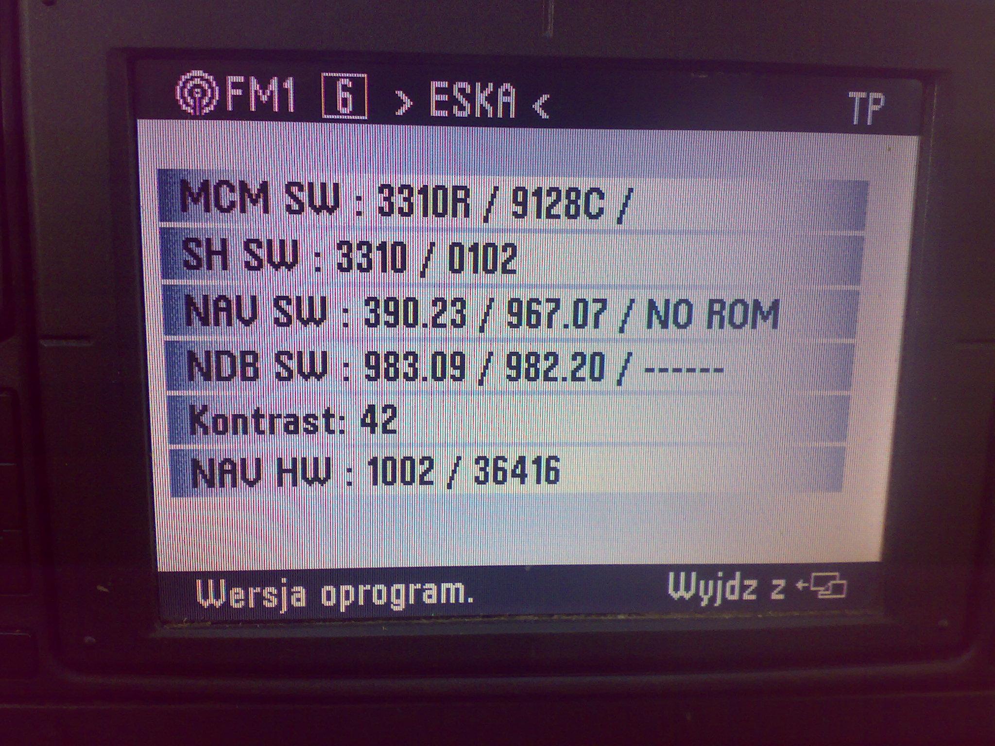 Radio Navigation System MFD nie przesuwa si� kursor na mapie