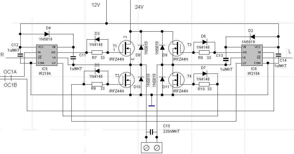 mostek h  2x ir2184   4x irf44n  regul  obrot u00f3w i kierunku