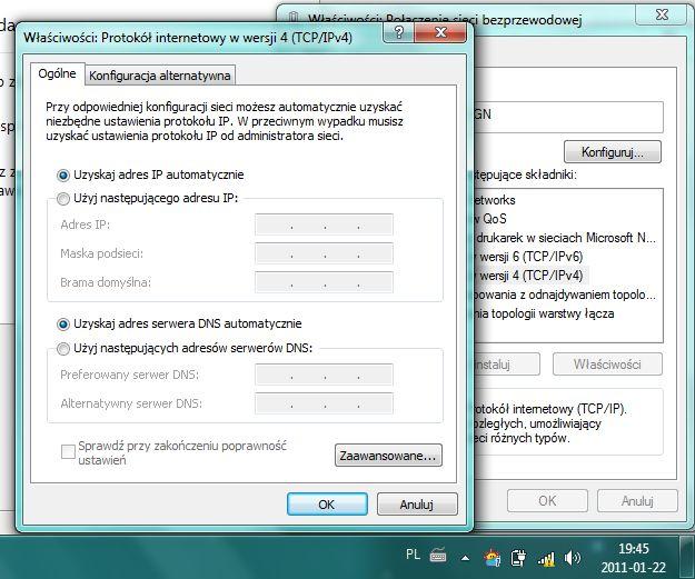 Zanikaj�cy internet po WiFi, silny sygna�, IP auto, Win7