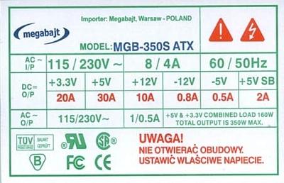 Megabajt model: MGB-350S - na linii +12V, napi�cie spada do +8V ?