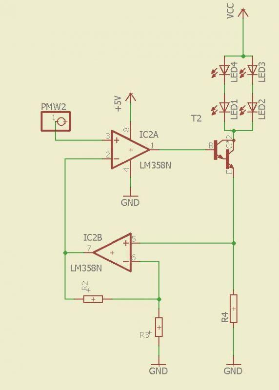 Driver LED na wzmacniaczu i tranzystorze Darlingtona - za mały prąd