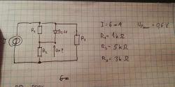 Obwód z źródłem prądowym, rezystorami i diodą