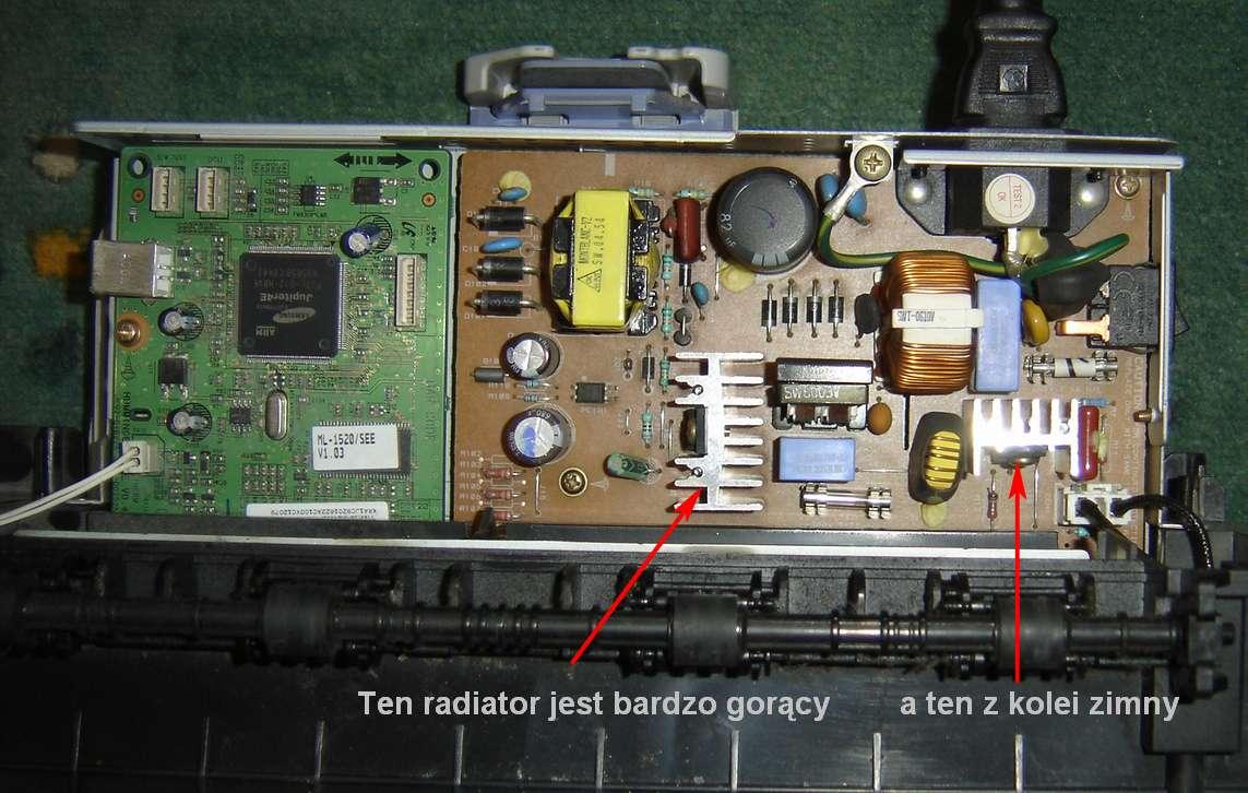 Drukarka laserowa Samsung ML-1520, nie pobiera papieru, uszkodzona.
