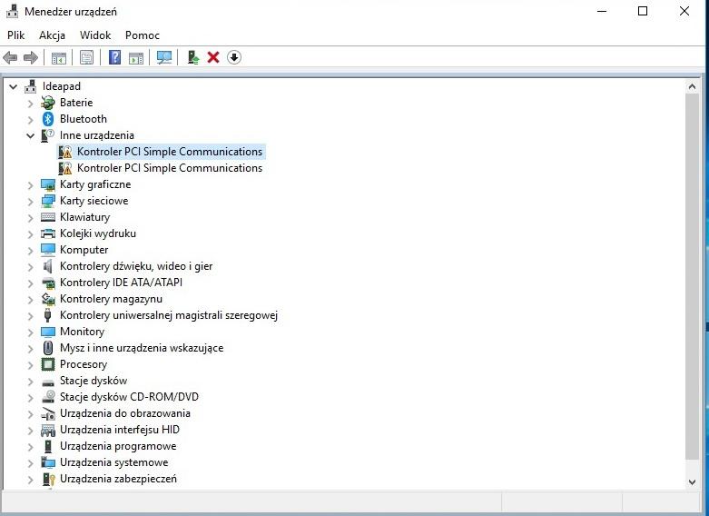Lenovo ideapad 320 - Kontroler PCI Simple Communications