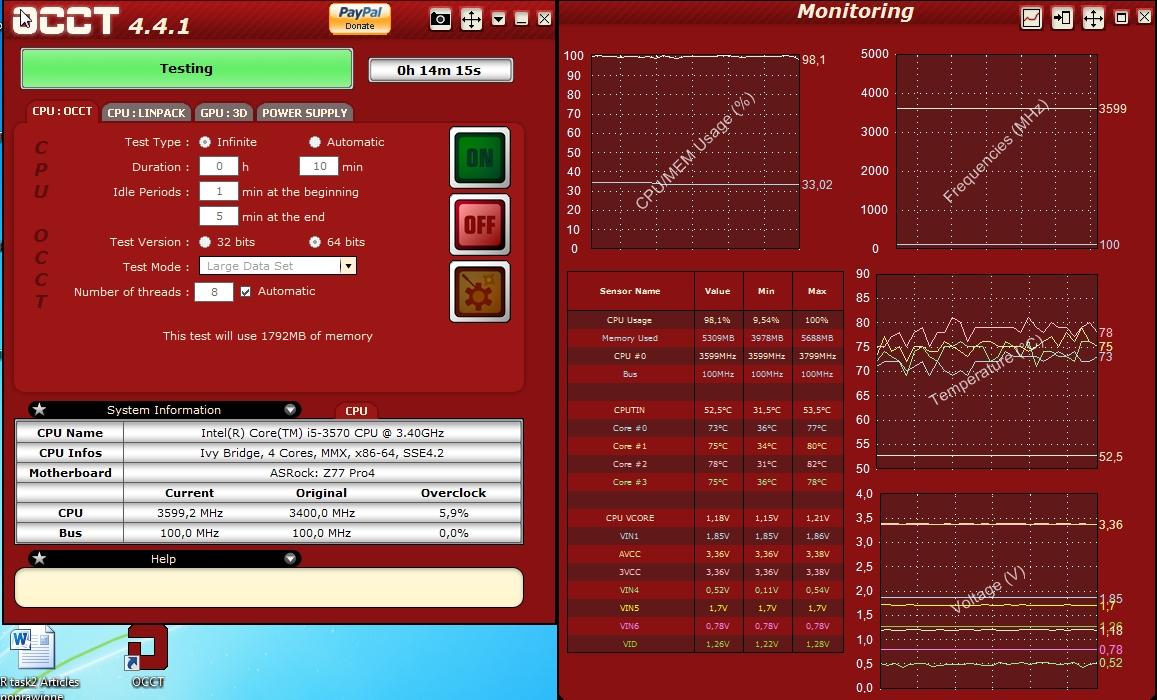 AsRock Z77 Pro4 i5 3570 - Wysokie temperatury na rdzeniach - zacinanie podczas p