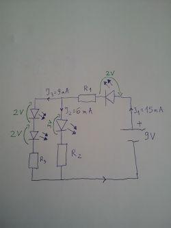 układ równoległy z różnymi diodami