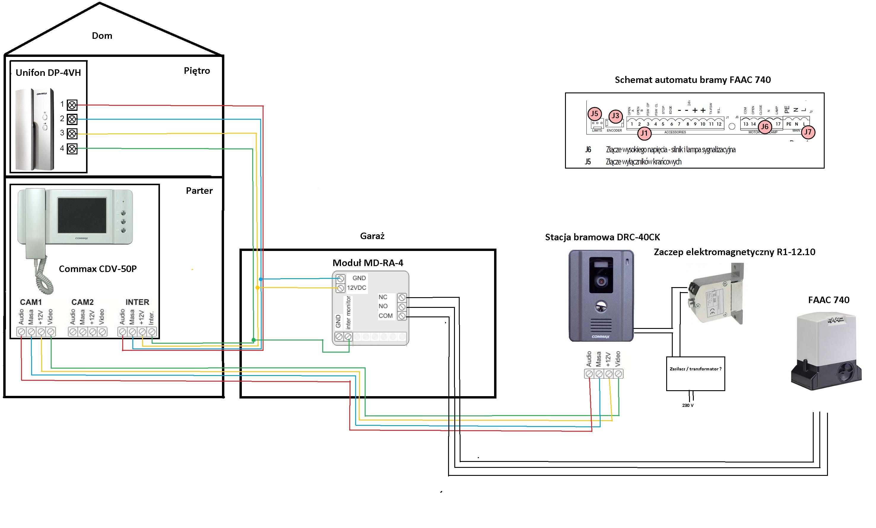 Wideodomofon Commax - jak pod��czy� elektrozaczep
