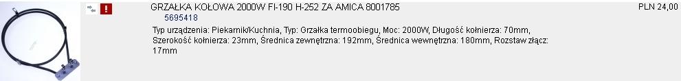 Kuchenka Amica, ECGH3,43 - Nie dzia�a grzanie termoobiegu