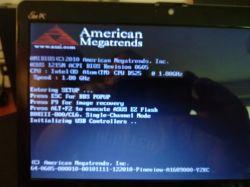 ASUS Eee PC 1215N - wisi na ekranie startowym POST.