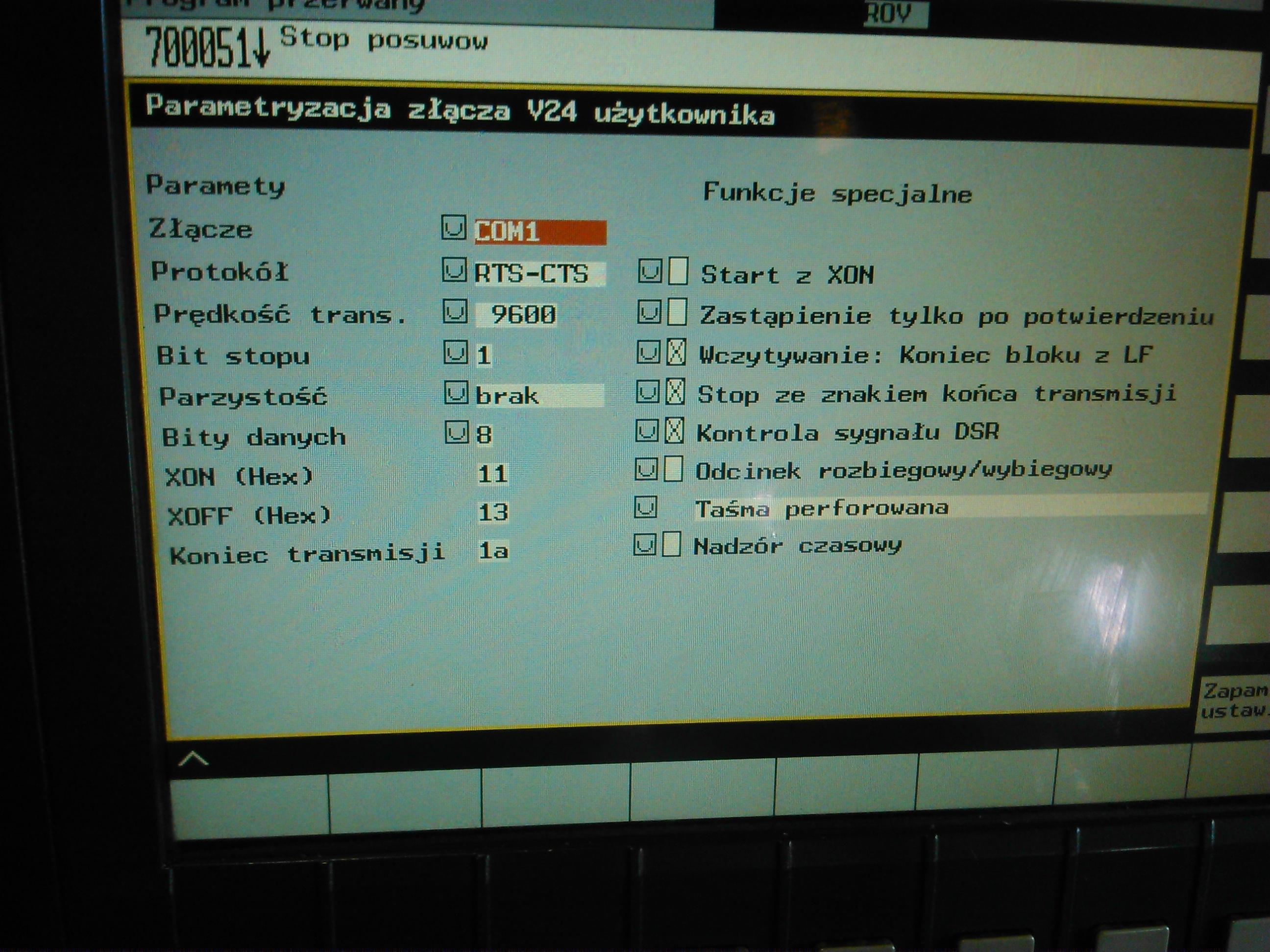 Brak transmisji przez RS232 - Sinumerik 810D TUG54NM