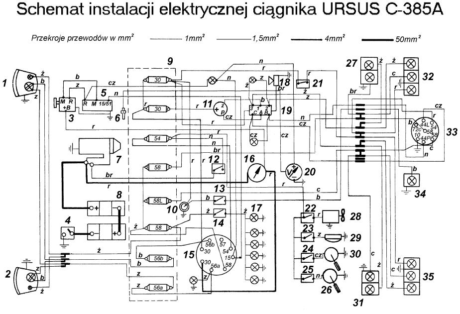 C 385  -  pod��czenie alternatora i kontrolki �adowania