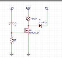 Przekaźnik tranzystorowy - start pompy chłodzenia wodnego (silnik BLDC)