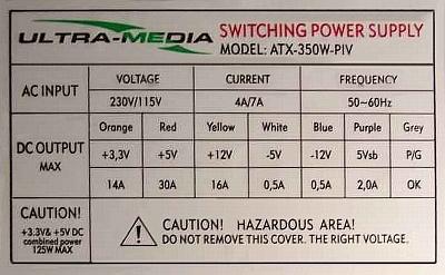 Ultra-Media model: ATX-350W-PIV naprawa elementy uszkodzone