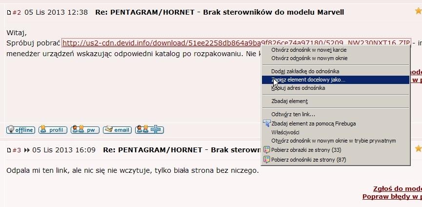 PENTAGRAM/HORNET - Brak sterownik�w do modelu Marvell