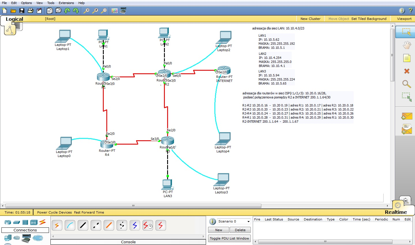 Cisco Packet Tracer - zadanie