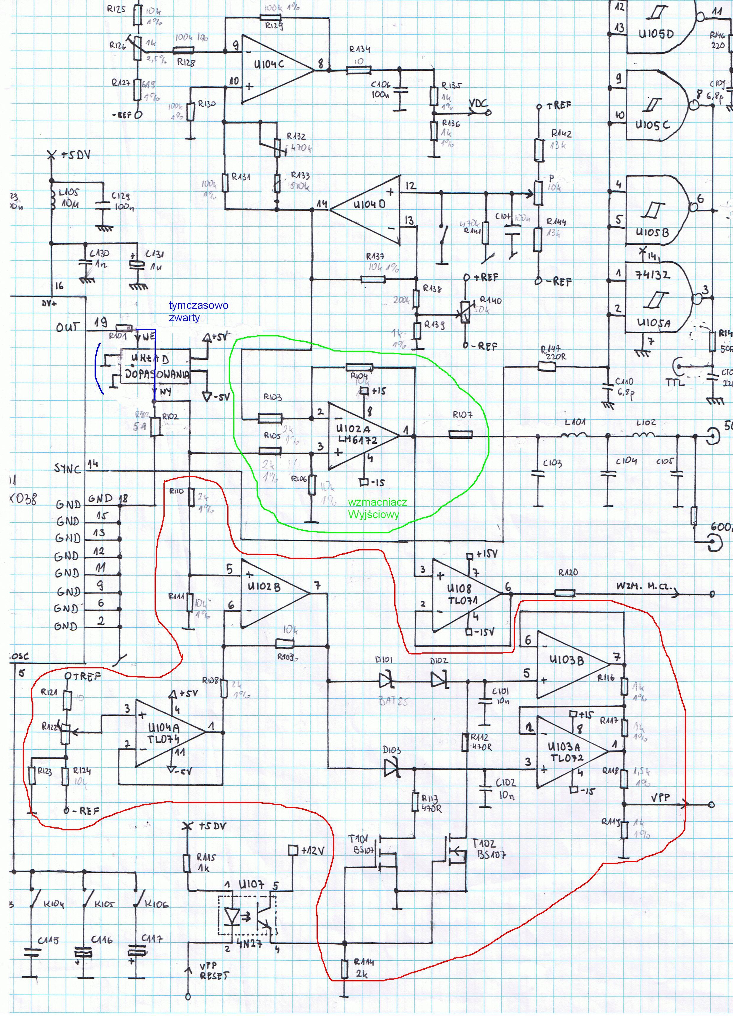 Generator funkcyjny MAX038 - niepo��dana sk�adowa i zniekszta�cenia prostok�ta