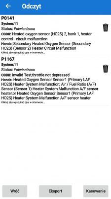 Honda Accord VI CG9 - Błąd P1167 po wymianie sondy Lambda regulacyjnej