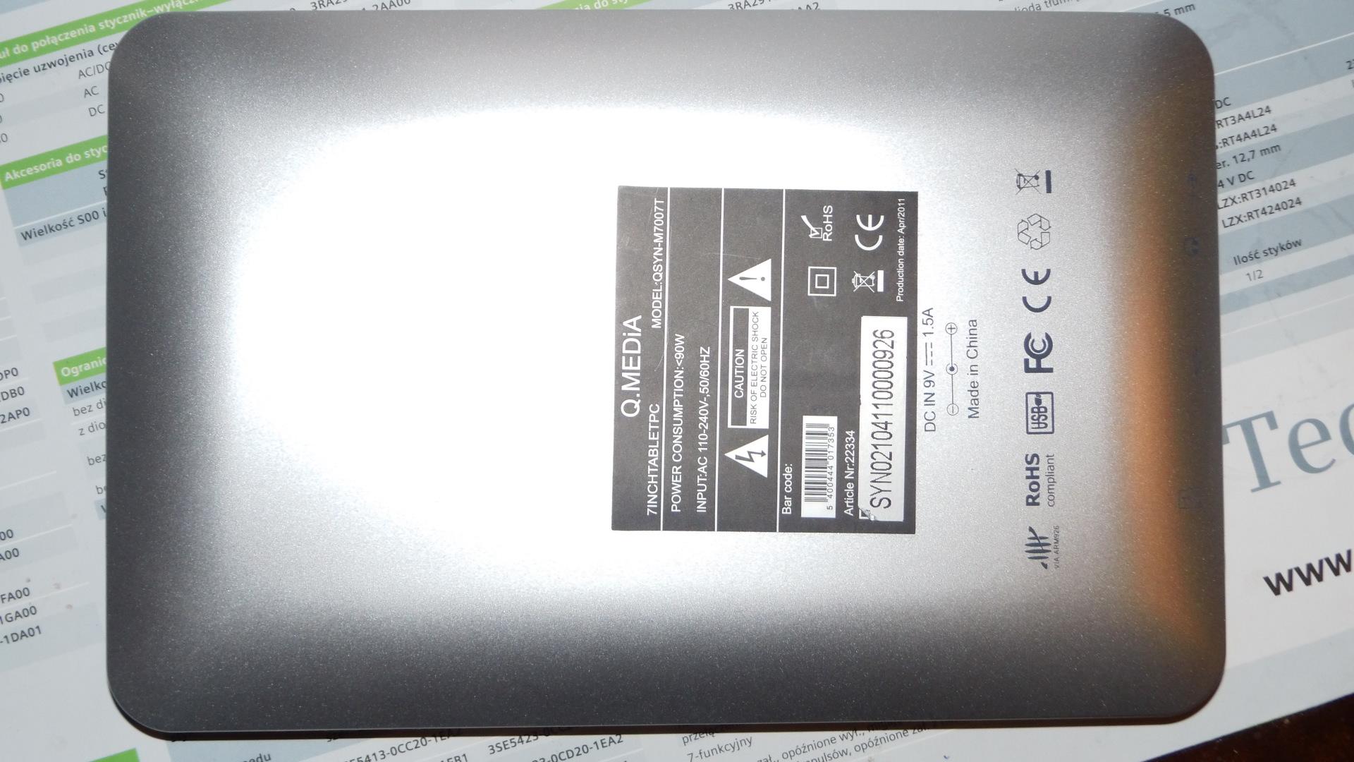Tablet M7007T - zawiesza si� na ekranie startowym