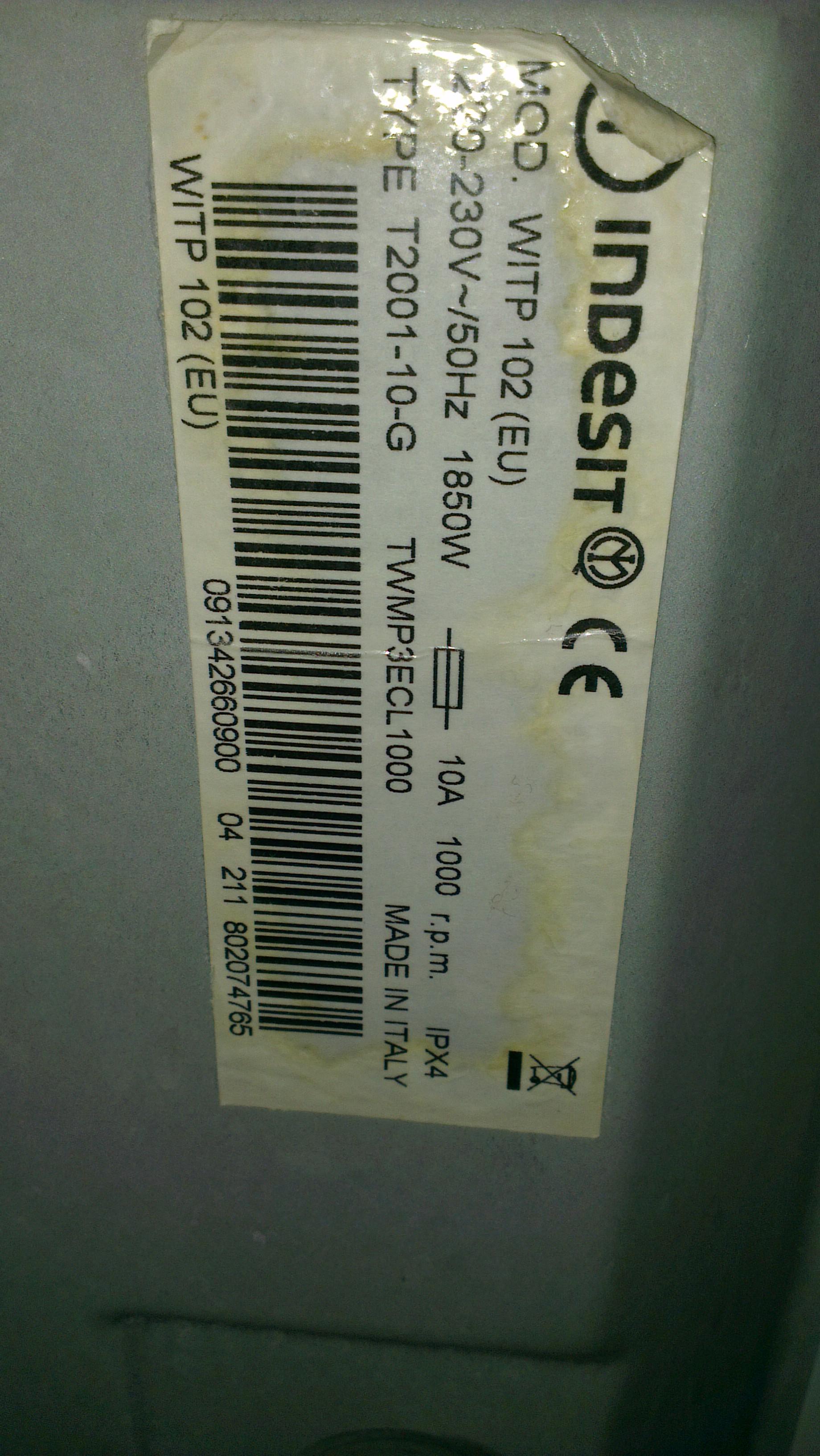 Indesit WITP 102, Type T2001-G - Prblem z rozpoznaniu wieku pralki