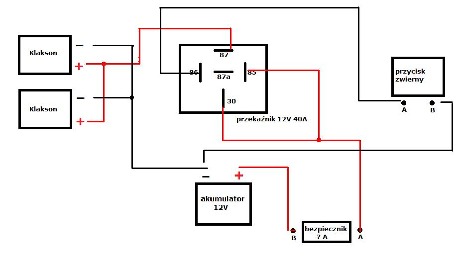 Przeka�nik 12V 40A schemat - pod��czenie klakson�w