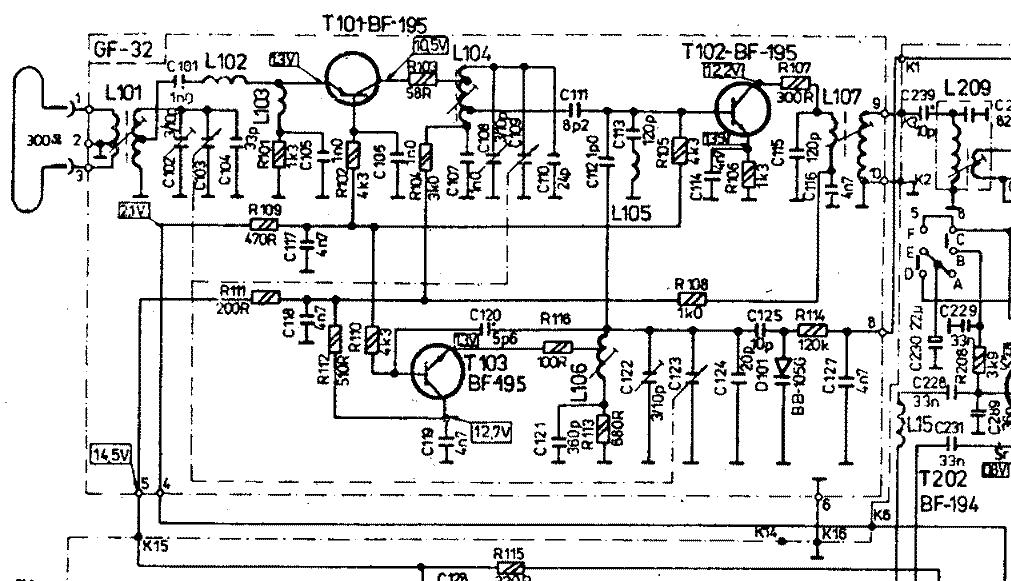 Tranzystor BF241 (wsp�lna baza) dob�r element�w do prawid�owej pracy.