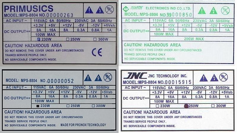 Zasilacz MPS-8831 na płycie rev MPS-231 wartości R314, R315, R316, R239, R702, R