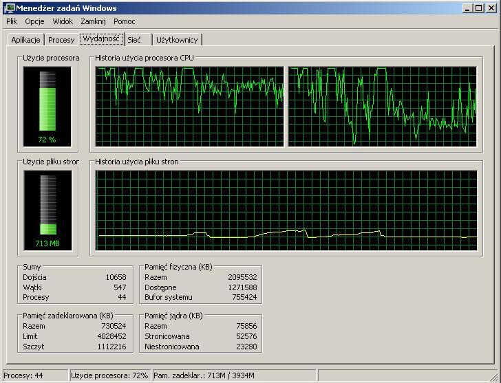 Wydajno�� - strasznie du�e u�ycie procesora XP