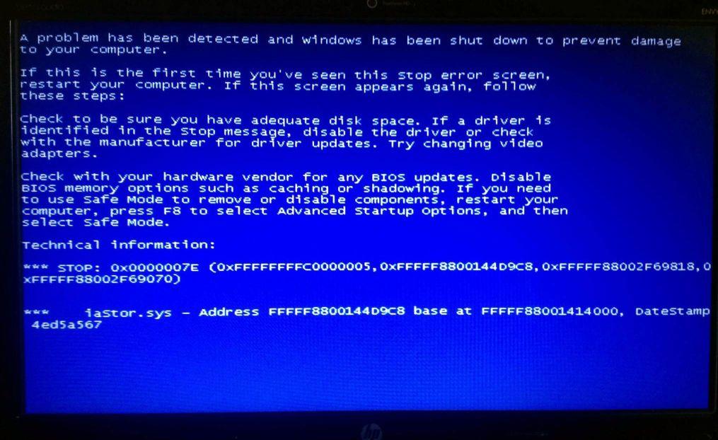 HP ENVY - Bluescreen iaStor.sys, STOP: 0x0000007E