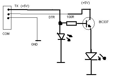 RS232 Właczanie tranzystora właczajacego diode LED