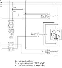 - Podłączenie presostatu 230 do kompresora z automatem trójkąt-gwiazda.