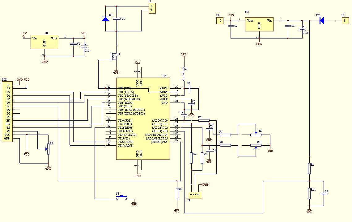 Woltomierz amperomierz termometr do samochodu ( atmega8 )