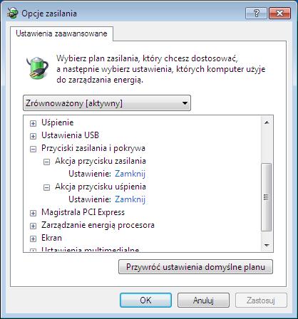 Windows 7 x64 zmiana przycisku uśpij na zamknij